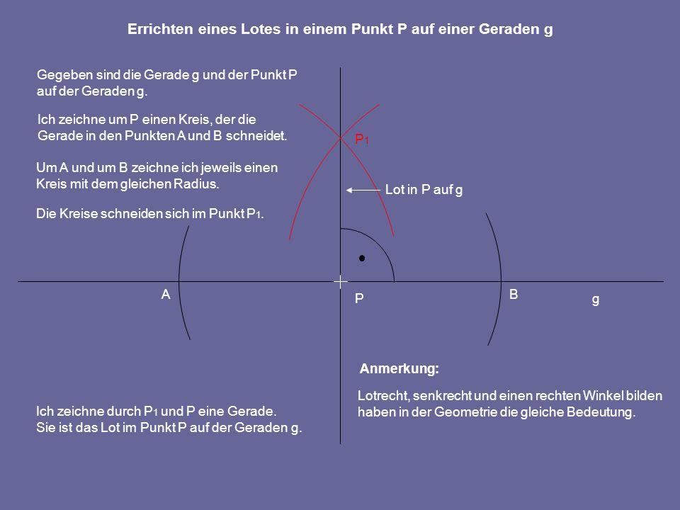 AB P P1P1 Um A und um B zeichne ich jeweils einen Kreis mit dem gleichen Radius. Die Kreise schneiden sich im Punkt P 1. Ich zeichne durch P 1 und P e