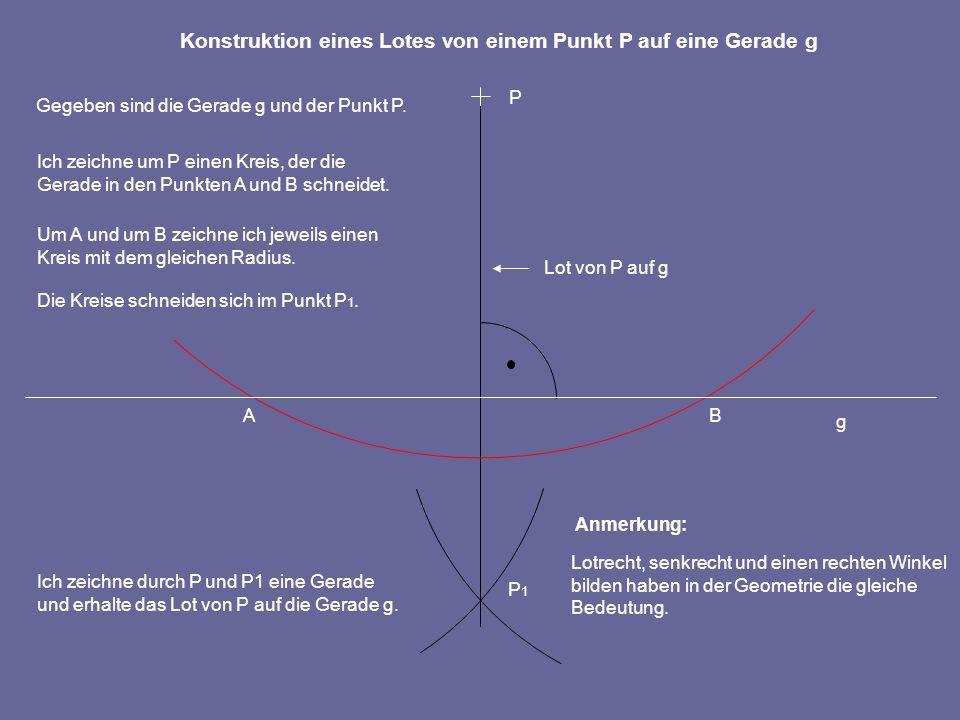 AB P P1P1 Um A und um B zeichne ich jeweils einen Kreis mit dem gleichen Radius.