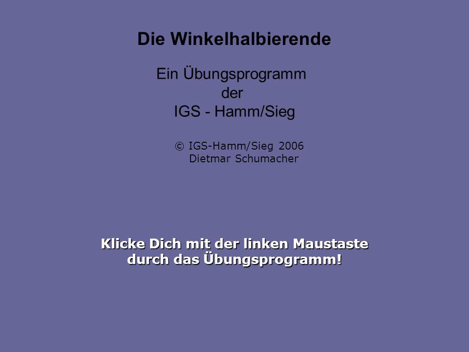 Klicke Dich mit der linken Maustaste durch das Übungsprogramm! Die Winkelhalbierende Ein Übungsprogramm der IGS - Hamm/Sieg © IGS-Hamm/Sieg 2006 Dietm