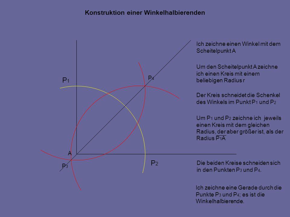 Konstruktion einer Winkelhalbierenden A P1P1 P2P2 Ich zeichne einen Winkel mit dem Scheitelpunkt A Um den Scheitelpunkt A zeichne ich einen Kreis mit