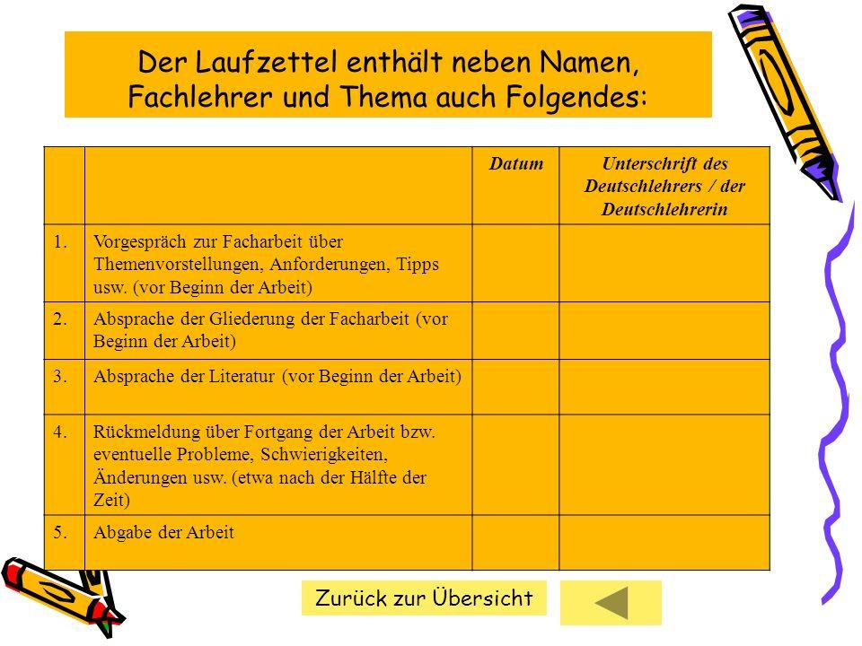 Der Laufzettel enthält neben Namen, Fachlehrer und Thema auch Folgendes: DatumUnterschrift des Deutschlehrers / der Deutschlehrerin 1.Vorgespräch zur