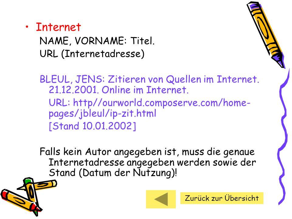 Internet NAME, VORNAME: Titel. URL (Internetadresse) BLEUL, JENS: Zitieren von Quellen im Internet. 21.12.2001. Online im Internet. URL: http//ourworl
