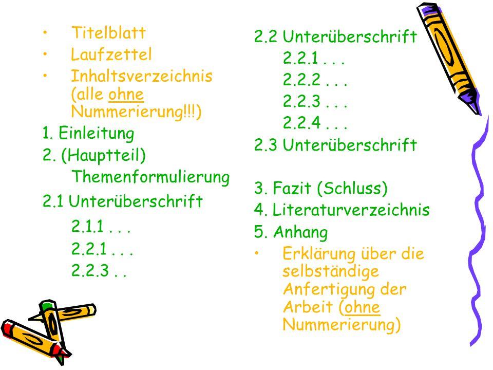 Titelblatt Laufzettel Inhaltsverzeichnis (alle ohne Nummerierung!!!) 1. Einleitung 2. (Hauptteil) Themenformulierung 2.1 Unterüberschrift 2.1.1... 2.2