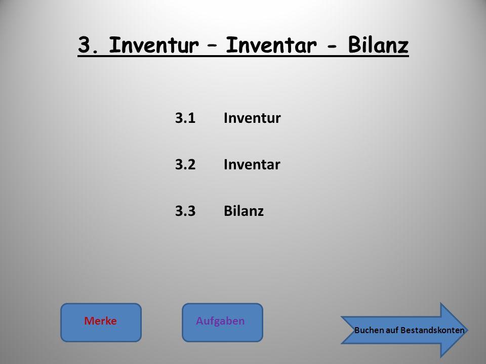 3. Inventur – Inventar - Bilanz 3.1Inventur 3.2Inventar 3.3Bilanz MerkeAufgaben Buchen auf Bestandskonten