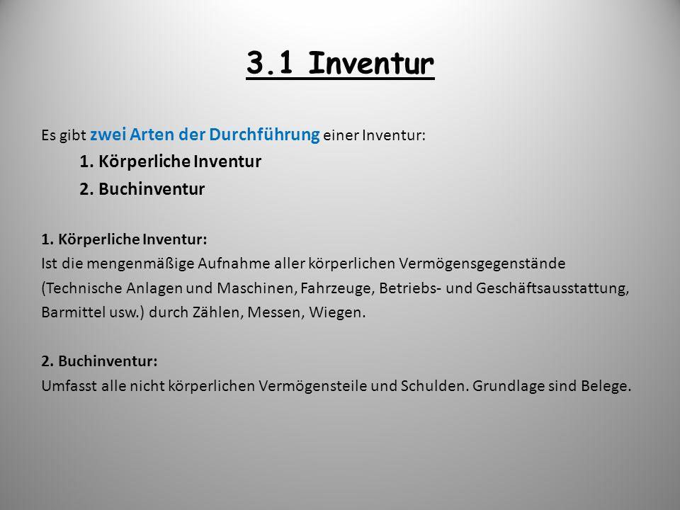 3.1 Inventur Es gibt zwei Arten der Durchführung einer Inventur: 1. Körperliche Inventur 2. Buchinventur 1. Körperliche Inventur: Ist die mengenmäßige