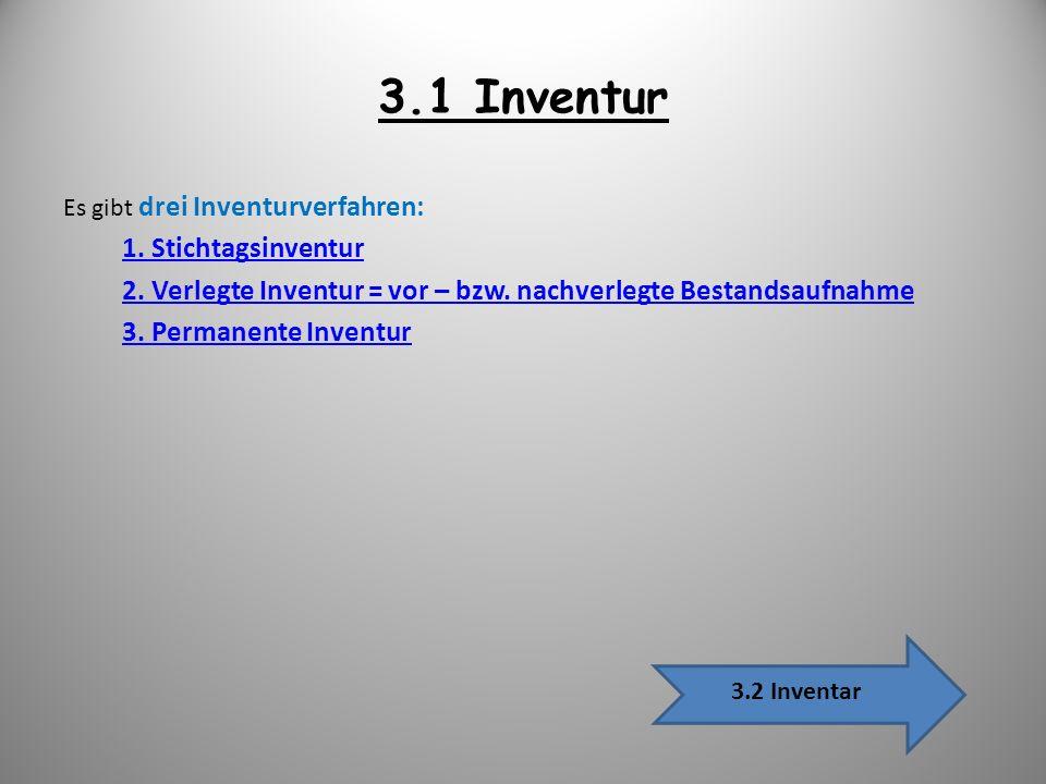 3.1 Inventur Es gibt drei Inventurverfahren: 1. Stichtagsinventur 2. Verlegte Inventur = vor – bzw. nachverlegte Bestandsaufnahme 3. Permanente Invent