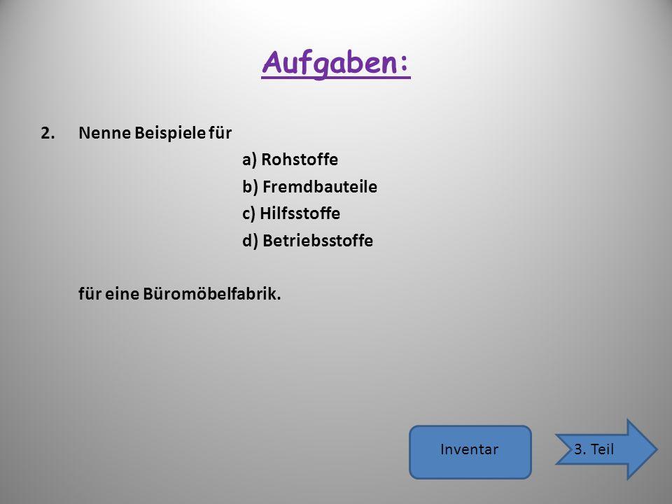 Aufgaben: 2.Nenne Beispiele für a) Rohstoffe b) Fremdbauteile c) Hilfsstoffe d) Betriebsstoffe für eine Büromöbelfabrik. Inventar3. Teil