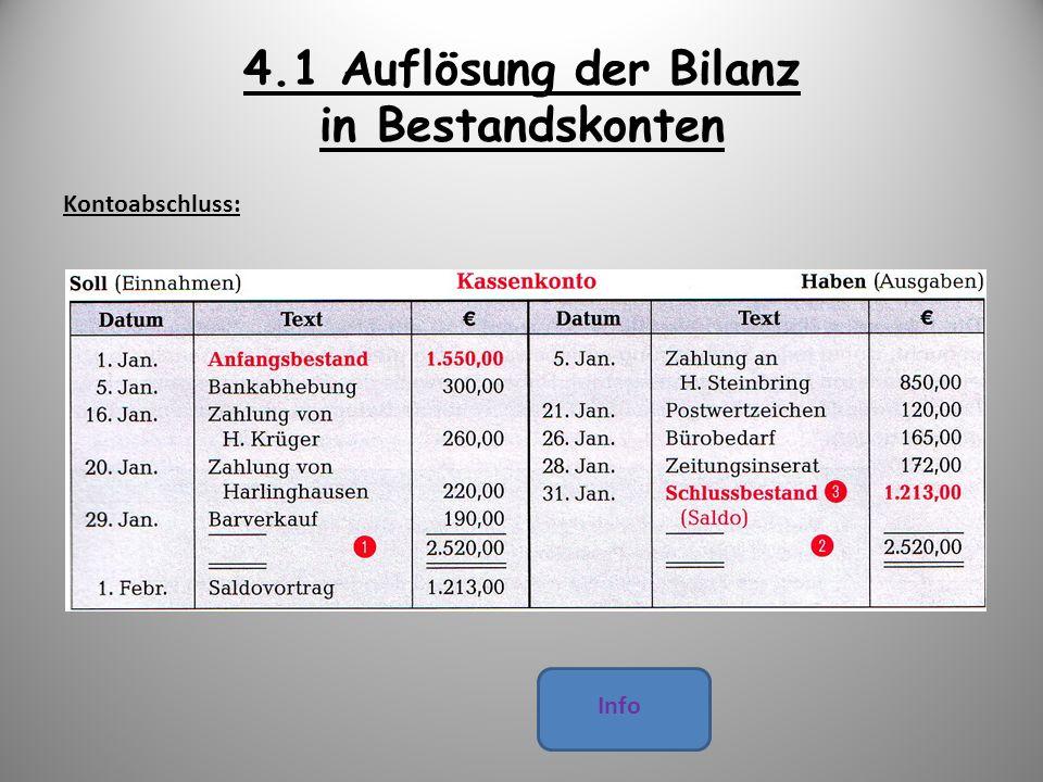 4.1 Auflösung der Bilanz in Bestandskonten Kontoabschluss: Info