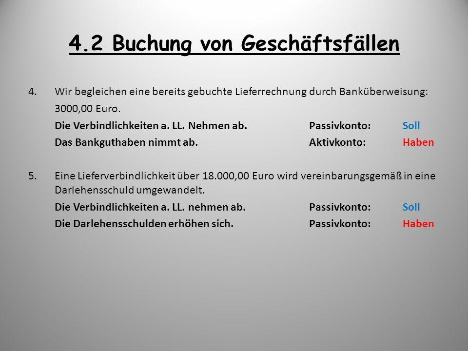 4.2 Buchung von Geschäftsfällen 4.Wir begleichen eine bereits gebuchte Lieferrechnung durch Banküberweisung: 3000,00 Euro. Die Verbindlichkeiten a. LL