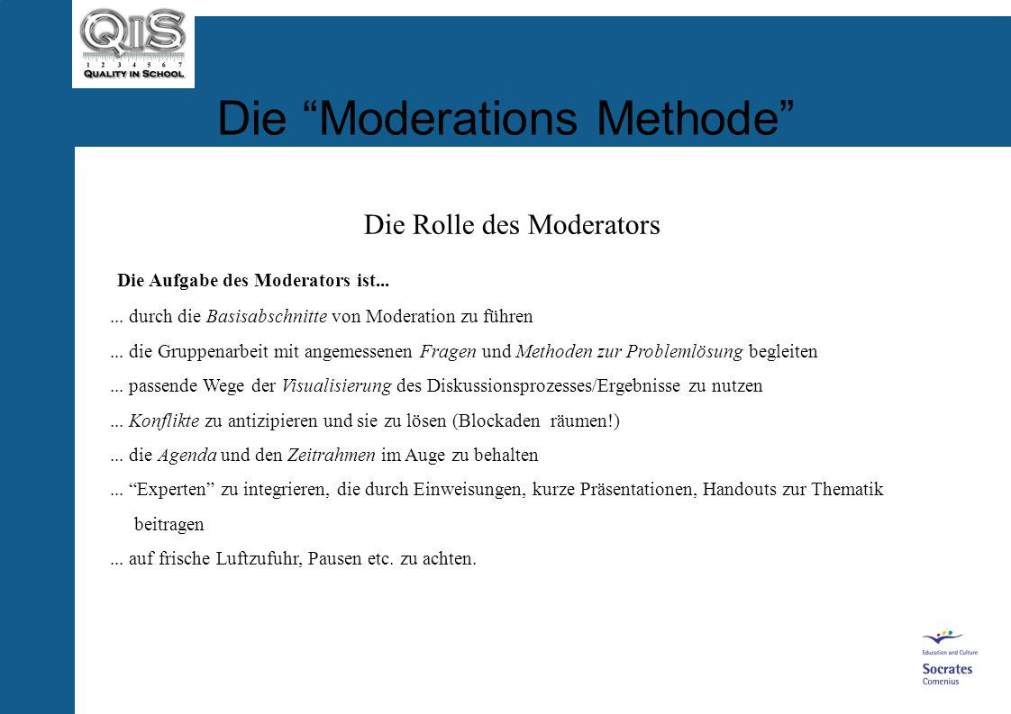 Die Moderations Methode Die Rolle des Moderators Das Schlüsselproblem an den meisten Schulen: Moderator = Schulleiter Warum? Ein Moderator sollte nich