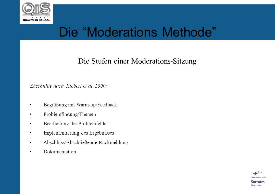 Die Moderations Methode Die Rolle des Moderators Drei Empfehlungen für QiS Gruppen: Moderations-Paare sind besser als ein Moderator! Wählt für jedes T