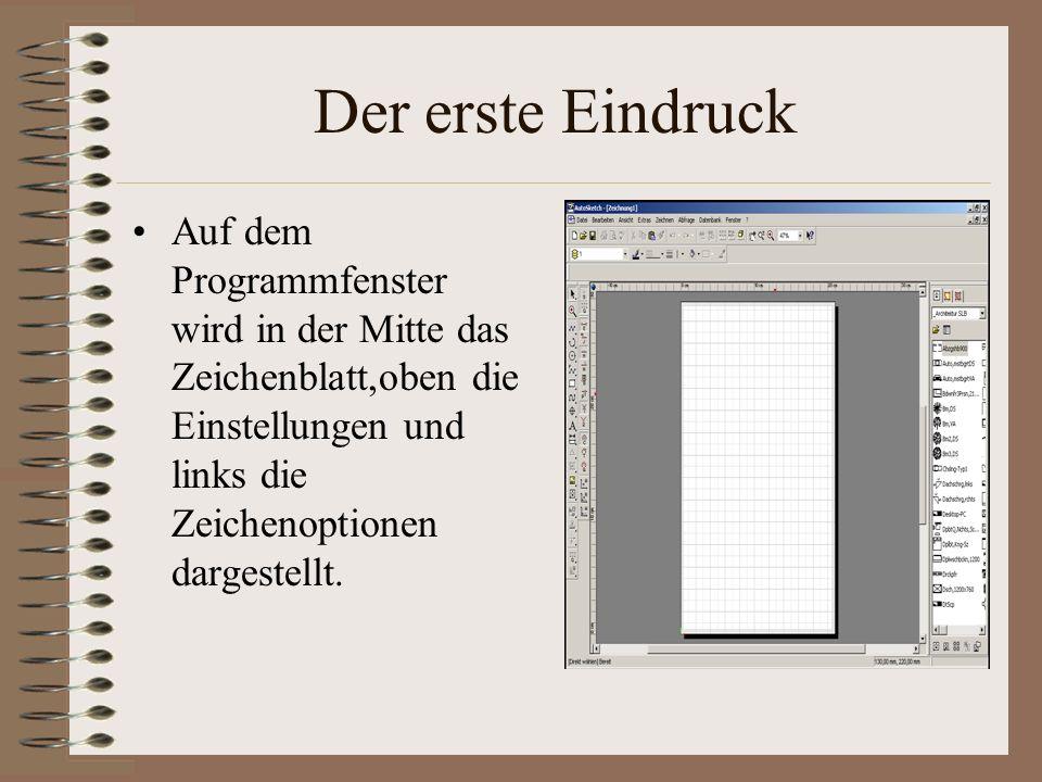 Der erste Eindruck Auf dem Programmfenster wird in der Mitte das Zeichenblatt,oben die Einstellungen und links die Zeichenoptionen dargestellt.