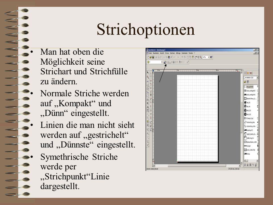 Strichoptionen Man hat oben die Möglichkeit seine Strichart und Strichfülle zu ändern. Normale Striche werden auf Kompakt und Dünn eingestellt. Linien