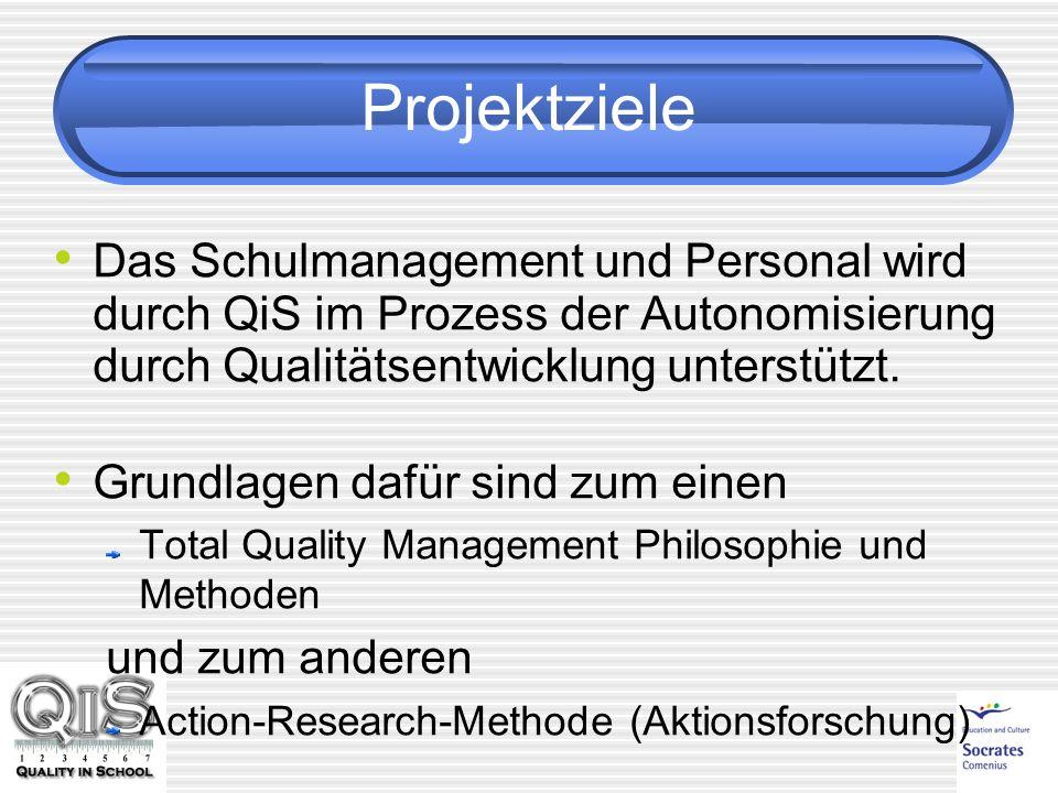 Projektziele Das Schulmanagement und Personal wird durch QiS im Prozess der Autonomisierung durch Qualitätsentwicklung unterstützt. Grundlagen dafür s