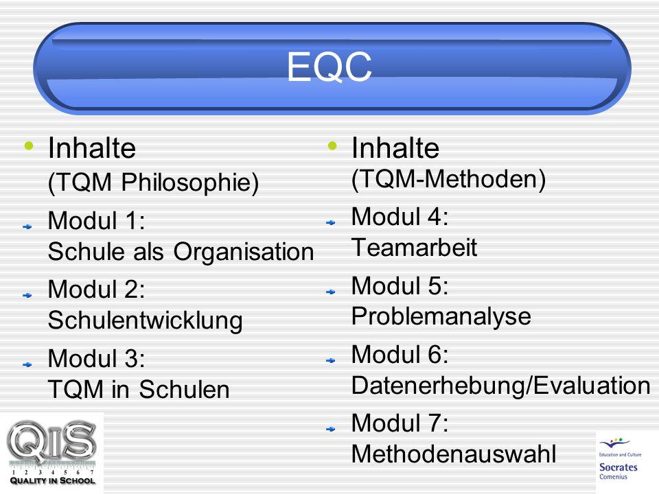 EQC Inhalte (TQM Philosophie) Modul 1: Schule als Organisation Modul 2: Schulentwicklung Modul 3: TQM in Schulen Inhalte (TQM-Methoden) Modul 4: Teamarbeit Modul 5: Problemanalyse Modul 6: Datenerhebung/Evaluation Modul 7: Methodenauswahl