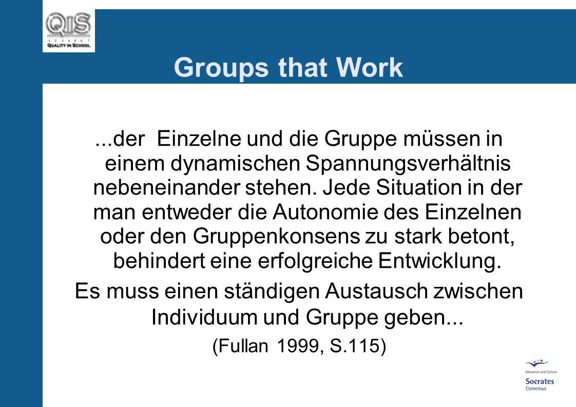 Groups that Work Qualitätsentwicklung in Schulen bedarf eines kreativen, innovativen und gut strukturierten Handelns, das den Bedürfnissen von Schule