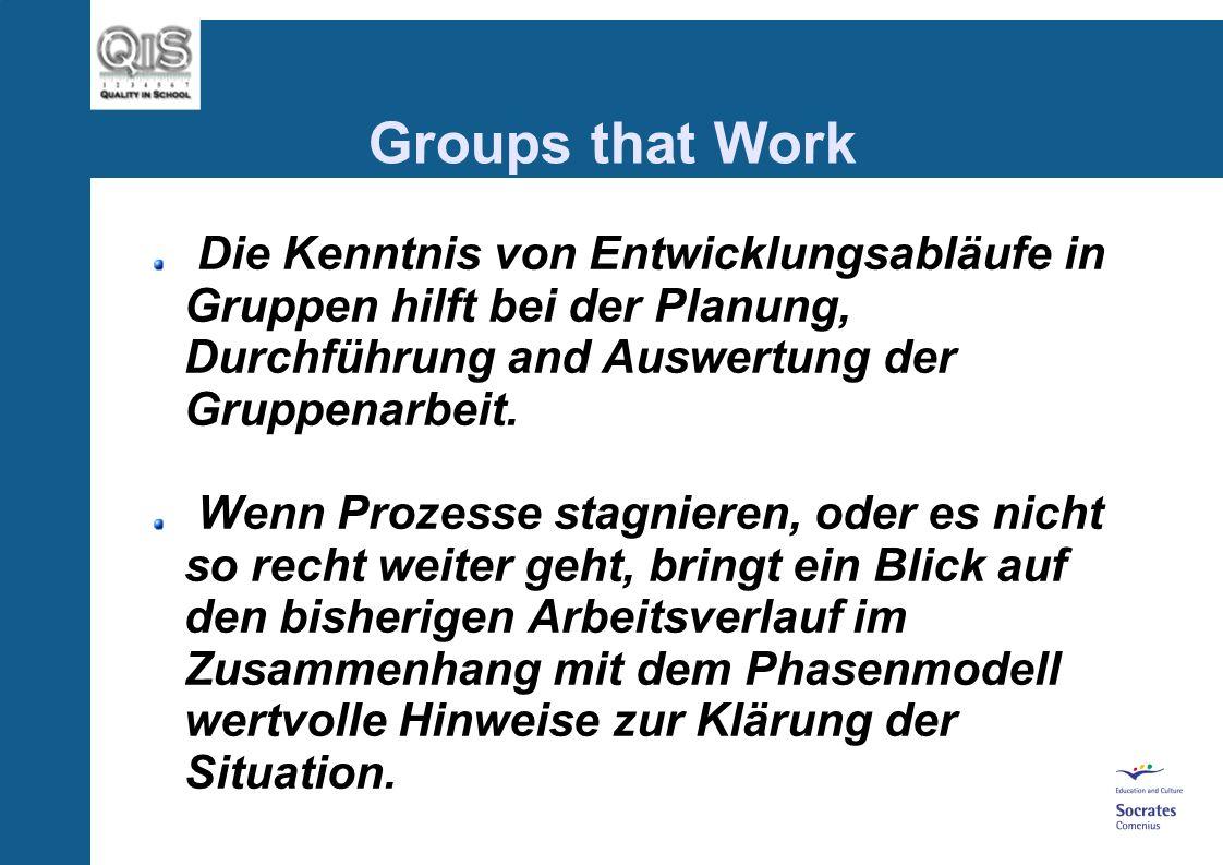 Groups that Work...der Einzelne und die Gruppe müssen in einem dynamischen Spannungsverhältnis nebeneinander stehen. Jede Situation in der man entwede