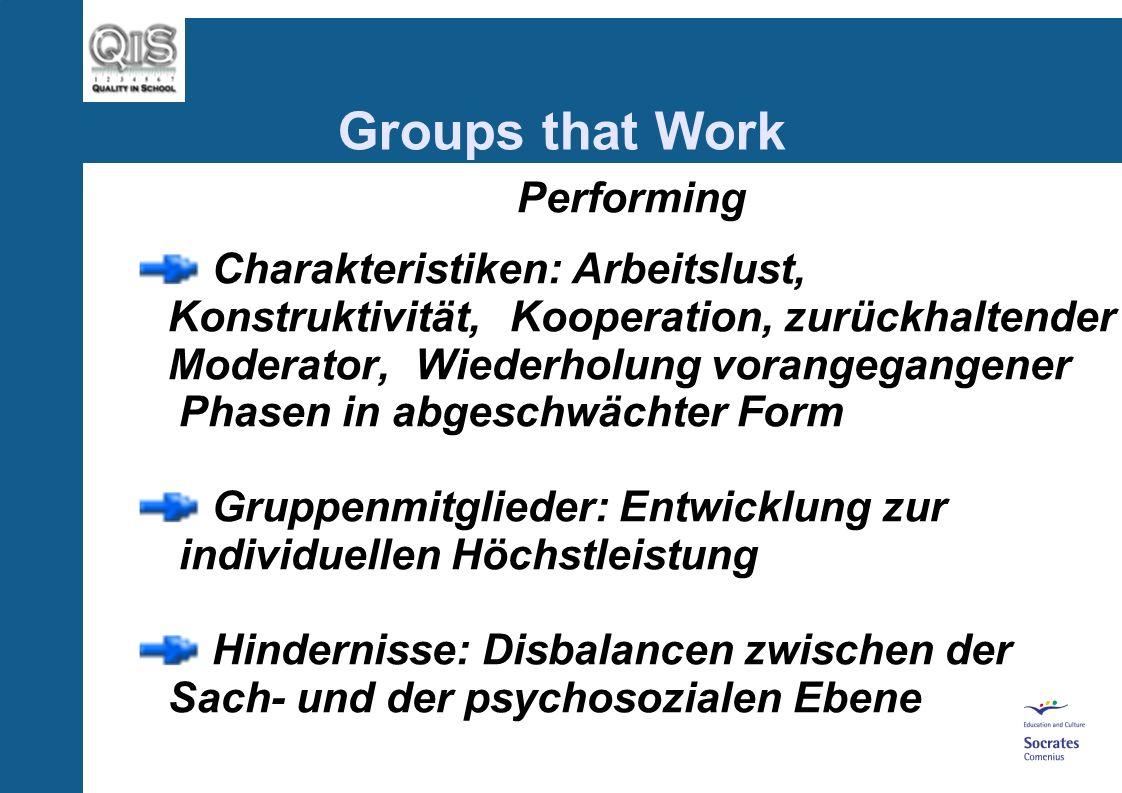 Storming/Norming: Charakteristiken: Normalisierung, Soziale Organisation, Rivalitäten, Toleranz Gruppenmitglieder: kritische Infragestellung, persönli