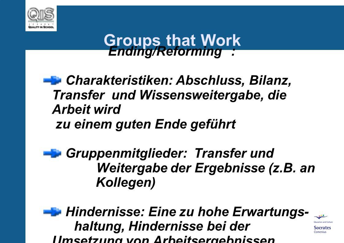Groups that Work Performing Charakteristiken: Arbeitslust, Konstruktivität, Kooperation, zurückhaltender Moderator, Wiederholung vorangegangener Phasen in abgeschwächter Form Gruppenmitglieder: Entwicklung zur individuellen Höchstleistung Hindernisse: Disbalancen zwischen der Sach- und der psychosozialen Ebene
