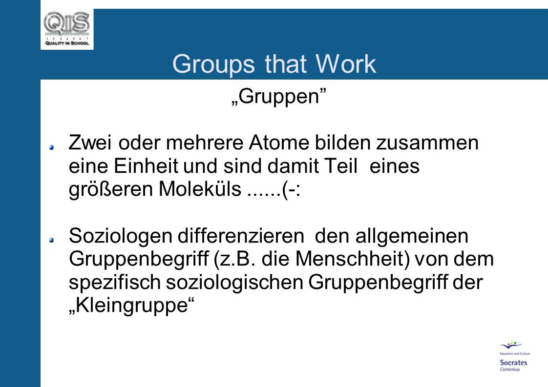 Groups that Work Gruppenprozesse und Teambildung 1. Teil des QiS-Moduls Teamentwicklung, Moderation und Time-management von Dipl. Päd. Susanne Müller-