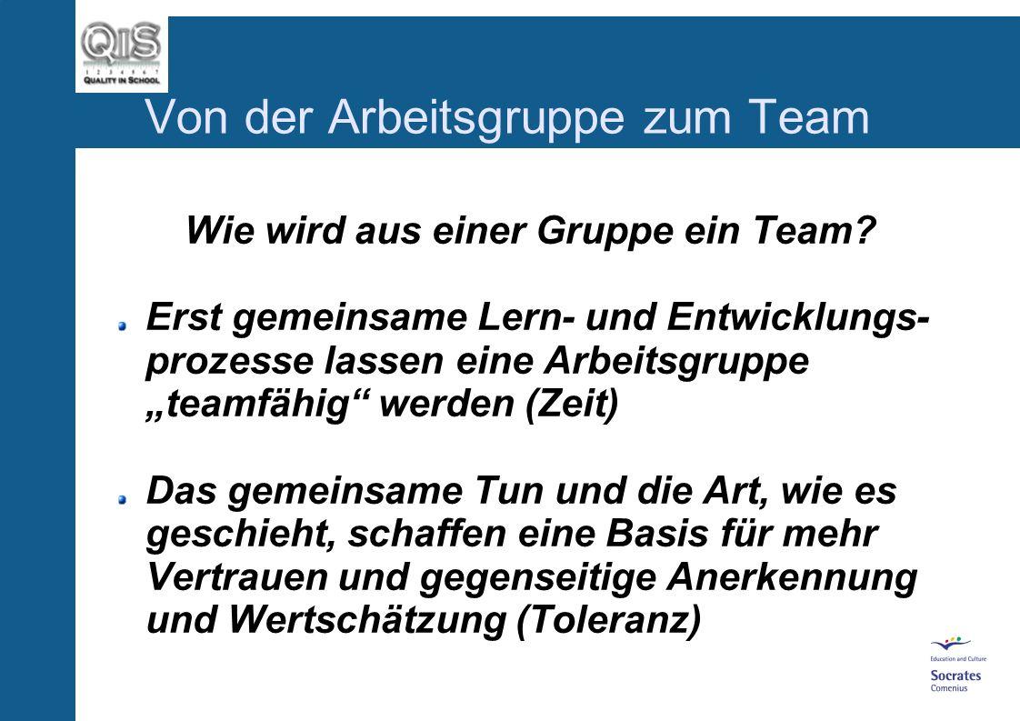 Von der Arbeitsgruppe zum Team Teambildung in Arbeitsgruppen Vertiefung