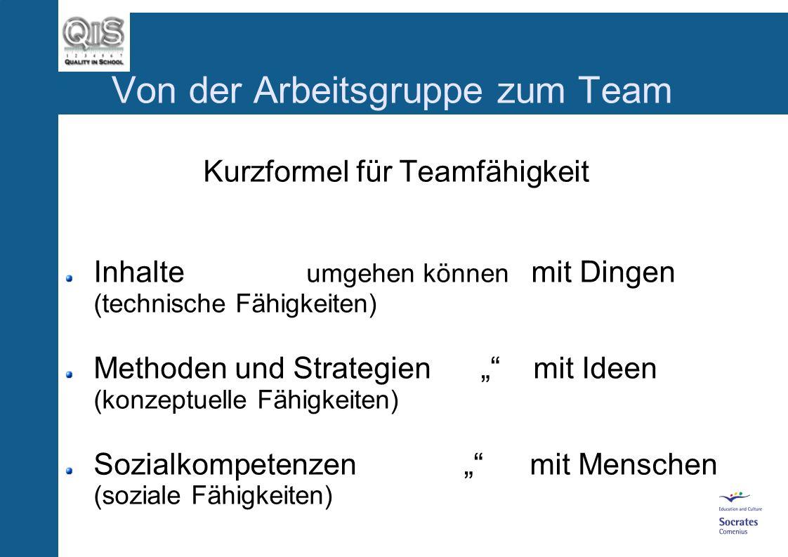 Von der Arbeitsgruppe zum Team Sozialkompetenzen Kommunikationsstil Positive Beziehungsklärung Umgang mit Konflikten Offenheit, Toleranz Wille zum Miteinander