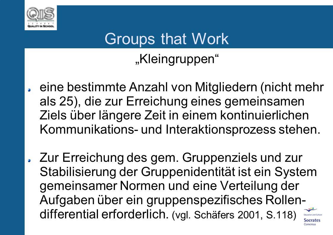 Groups that Work Gruppen Zwei oder mehrere Atome bilden zusammen eine Einheit und sind damit Teil eines größeren Moleküls......(-: Soziologen differen