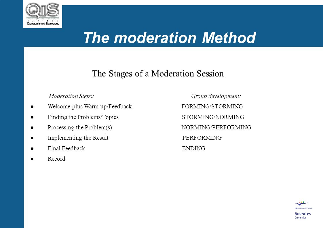 The moderation Method The Stages of a Moderation Session Stages according to Klebert et al. 2000: Welcome plus Warm-up/Feedback Finding the Problems/T