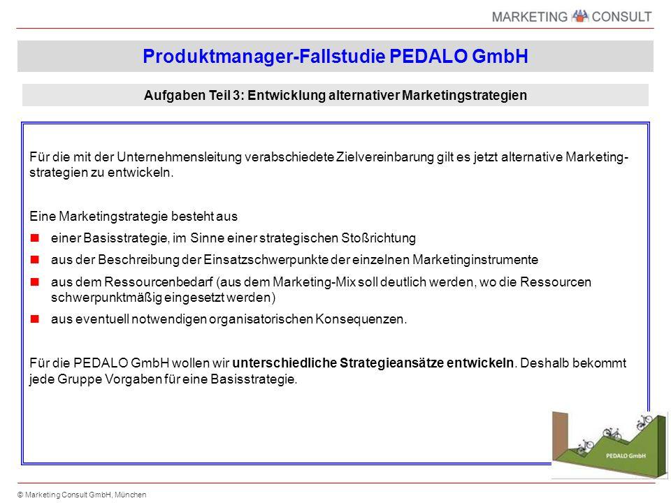 © Marketing Consult GmbH, München Für die mit der Unternehmensleitung verabschiedete Zielvereinbarung gilt es jetzt alternative Marketing- strategien zu entwickeln.