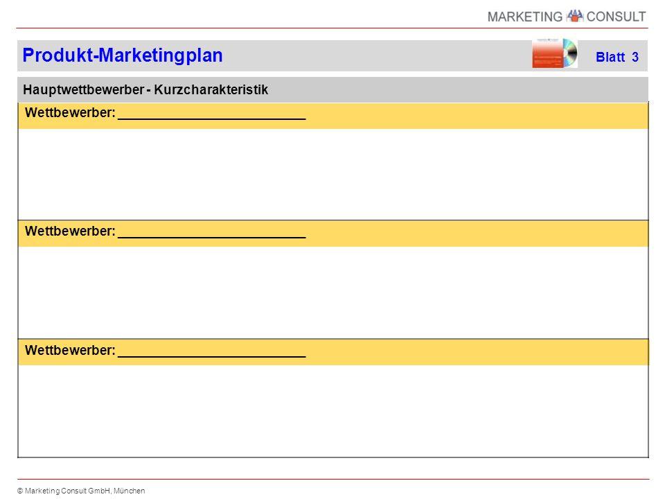 © Marketing Consult GmbH, München Chancen Stärken Schwächen Risiken SWOT-Analyse Produkt-Marketingplan Blatt 4