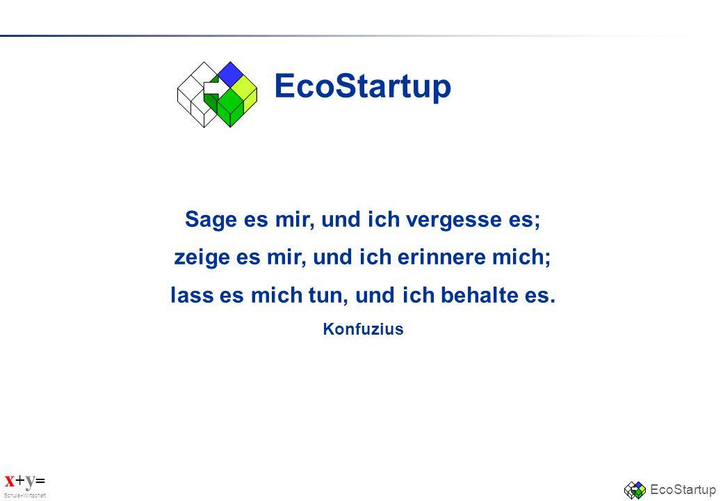 x + y = Schule+Wirtschaft EcoStartup Sage es mir, und ich vergesse es; zeige es mir, und ich erinnere mich; lass es mich tun, und ich behalte es. Konf