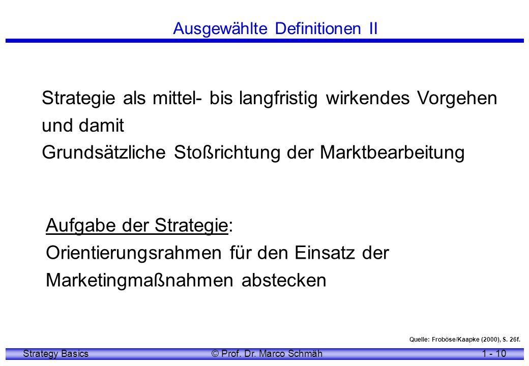 Strategy Basics© Prof. Dr. Marco Schmäh1 - 10 Strategie als mittel- bis langfristig wirkendes Vorgehen und damit Grundsätzliche Stoßrichtung der Markt
