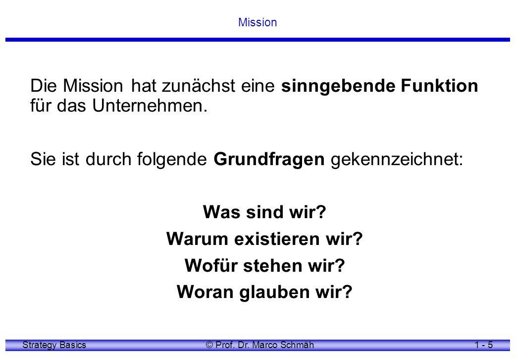 Strategy Basics© Prof. Dr. Marco Schmäh1 - 5 Mission Die Mission hat zunächst eine sinngebende Funktion für das Unternehmen. Sie ist durch folgende Gr