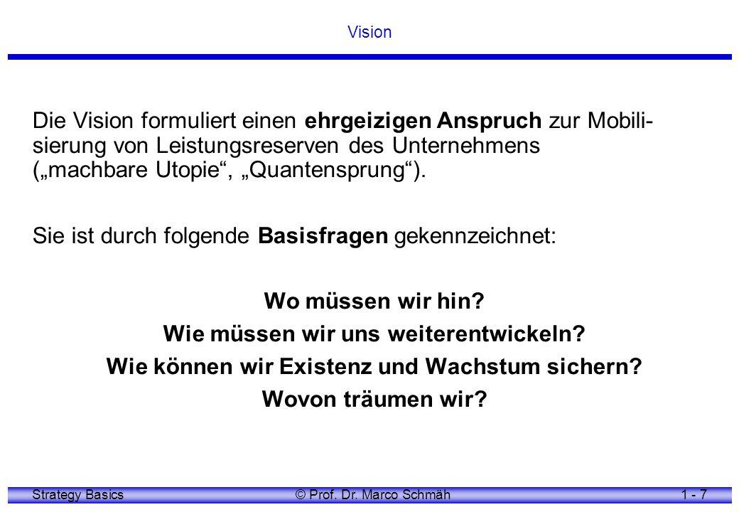 Strategy Basics© Prof. Dr. Marco Schmäh1 - 7 Vision Die Vision formuliert einen ehrgeizigen Anspruch zur Mobili- sierung von Leistungsreserven des Unt