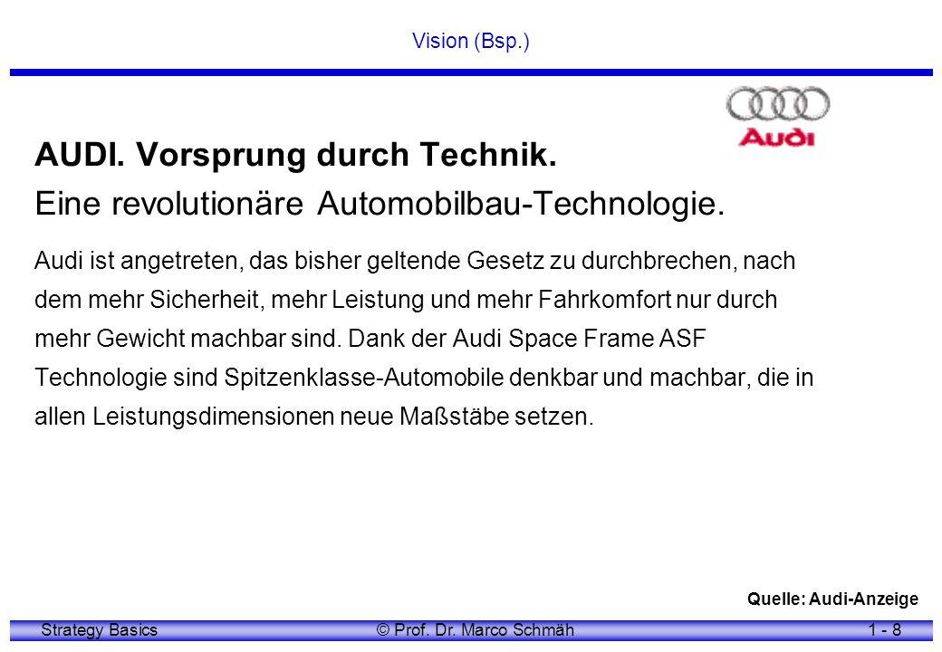 Strategy Basics© Prof. Dr. Marco Schmäh1 - 8 Vision (Bsp.) AUDI. Vorsprung durch Technik. Eine revolutionäre Automobilbau-Technologie. Audi ist angetr