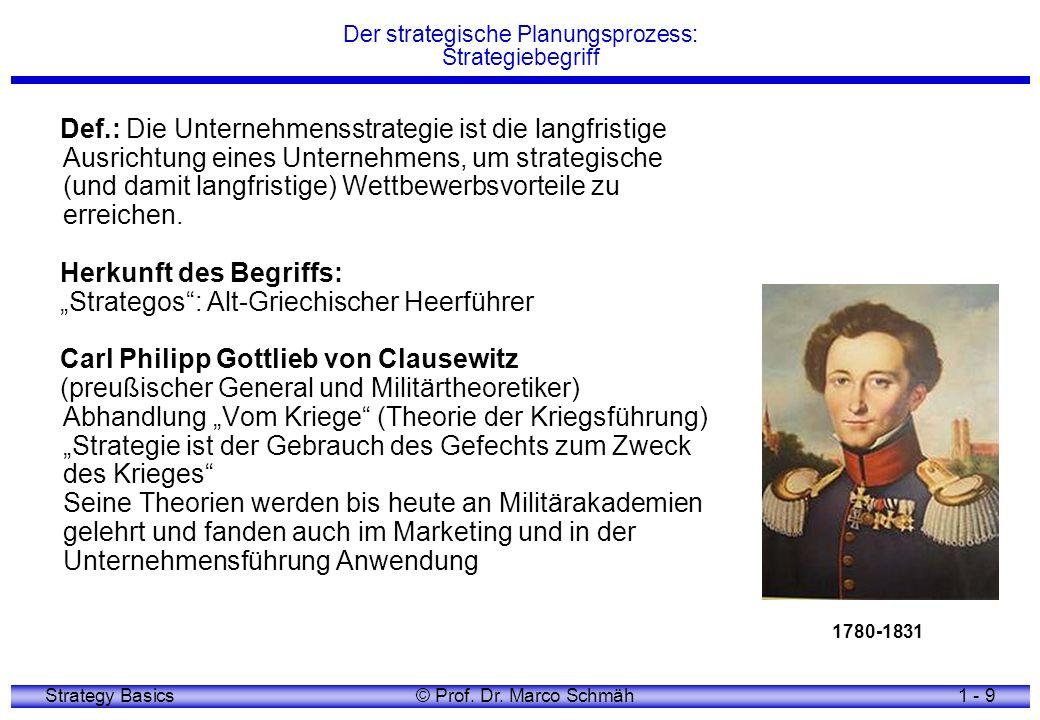 Strategy Basics© Prof. Dr. Marco Schmäh1 - 9 Der strategische Planungsprozess: Strategiebegriff Def.: Die Unternehmensstrategie ist die langfristige A