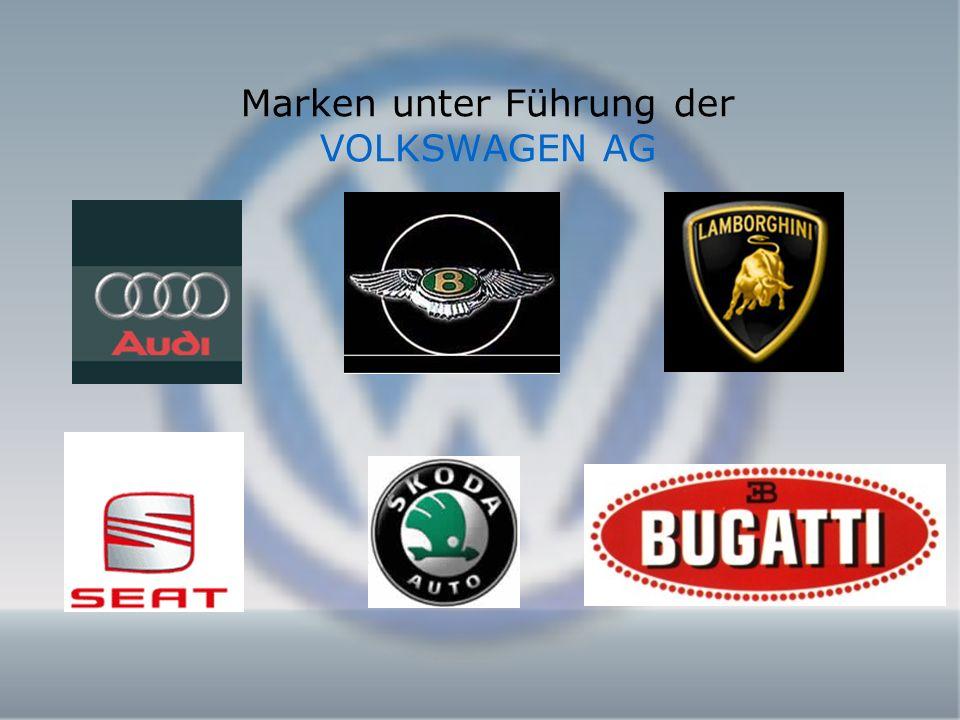 Marken unter Führung der VOLKSWAGEN AG
