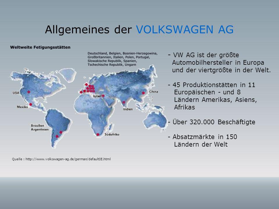 Allgemeines der VOLKSWAGEN AG Quelle : http://www.volkswagen-ag.de/german/defaultIE.html - VW AG ist der größte Automobilhersteller in Europa und der