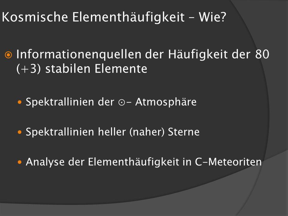 Kosmische Elementhäufigkeit – Wie? Informationenquellen der Häufigkeit der 80 (+3) stabilen Elemente Spektrallinien der - Atmosphäre Spektrallinien he