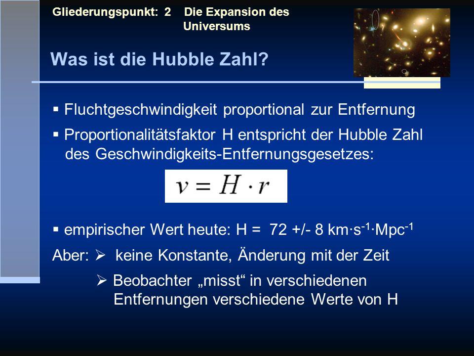 Was ist die Hubble Zahl? Gliederungspunkt: 2 Die Expansion des Universums Fluchtgeschwindigkeit proportional zur Entfernung Proportionalitätsfaktor H