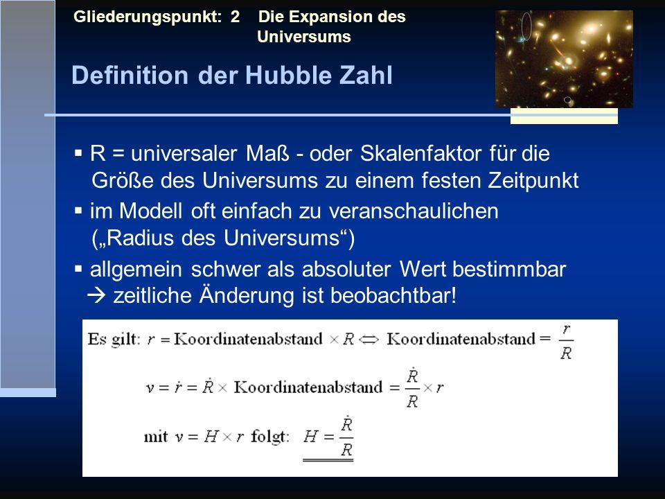Definition der Hubble Zahl Gliederungspunkt: 2 Die Expansion des Universums R = universaler Maß - oder Skalenfaktor für die Größe des Universums zu ei