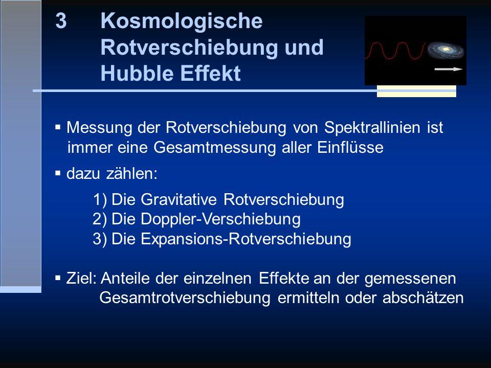 3Kosmologische Rotverschiebung und Hubble Effekt Messung der Rotverschiebung von Spektrallinien ist immer eine Gesamtmessung aller Einflüsse dazu zähl