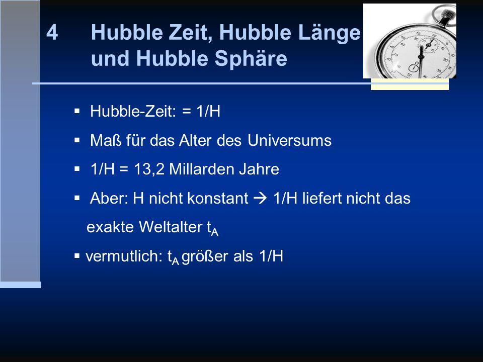 4Hubble Zeit, Hubble Länge und Hubble Sphäre Hubble-Zeit: = 1/H Maß für das Alter des Universums 1/H = 13,2 Millarden Jahre Aber: H nicht konstant 1/H