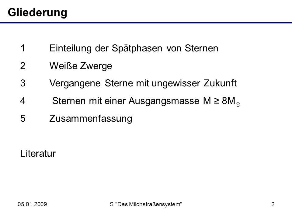 05.01.2009S Das Milchstraßensystem 3 1 Einteilung der Spätphasen von Sternen M Stern = (1…8) M M Stern = (8…10) M M > 1,4 M Weißer Zwerg M = (0,6…1,4) M Neutronenstern M 1,8 M + Abstoßen einer Hülle Schwarzes Loch M 1,8 M .