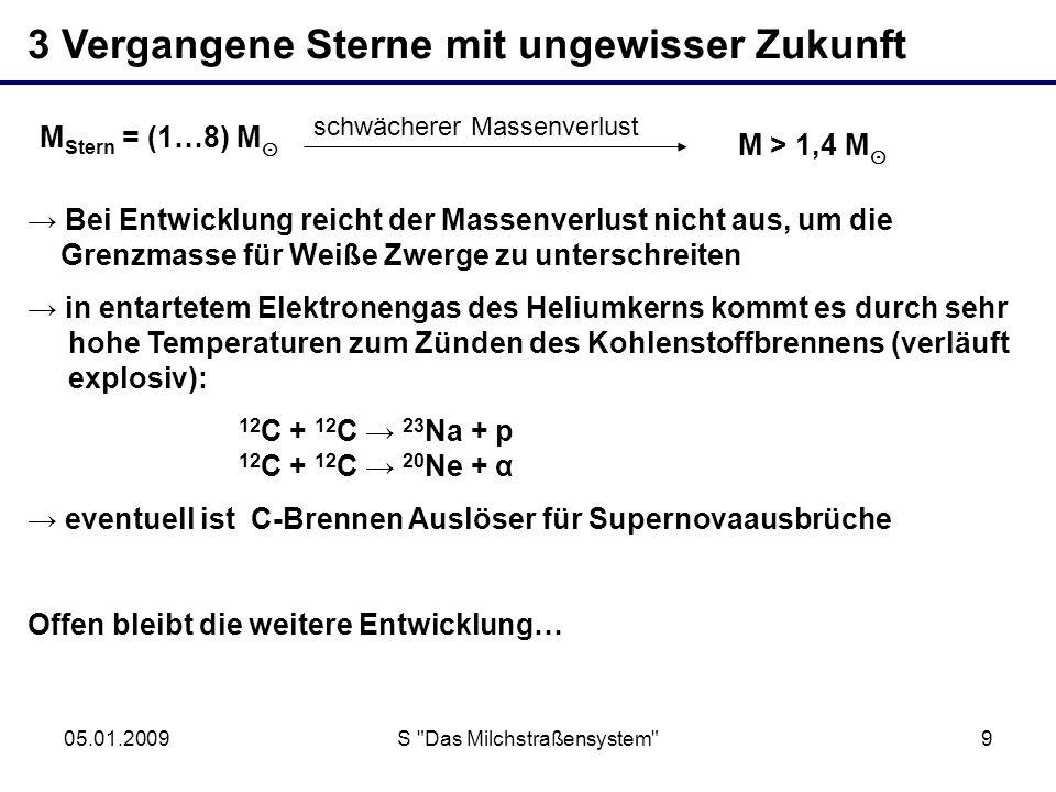 05.01.2009S Das Milchstraßensystem 10 M Stern = (1…8) M M Stern = (8…10) M M > 1,4 M Weißer Zwerg M = (0,6…1,4) M Neutronenstern M 1,8 M + Abstoßen einer Hülle Schwarzes Loch M 1,8 M .