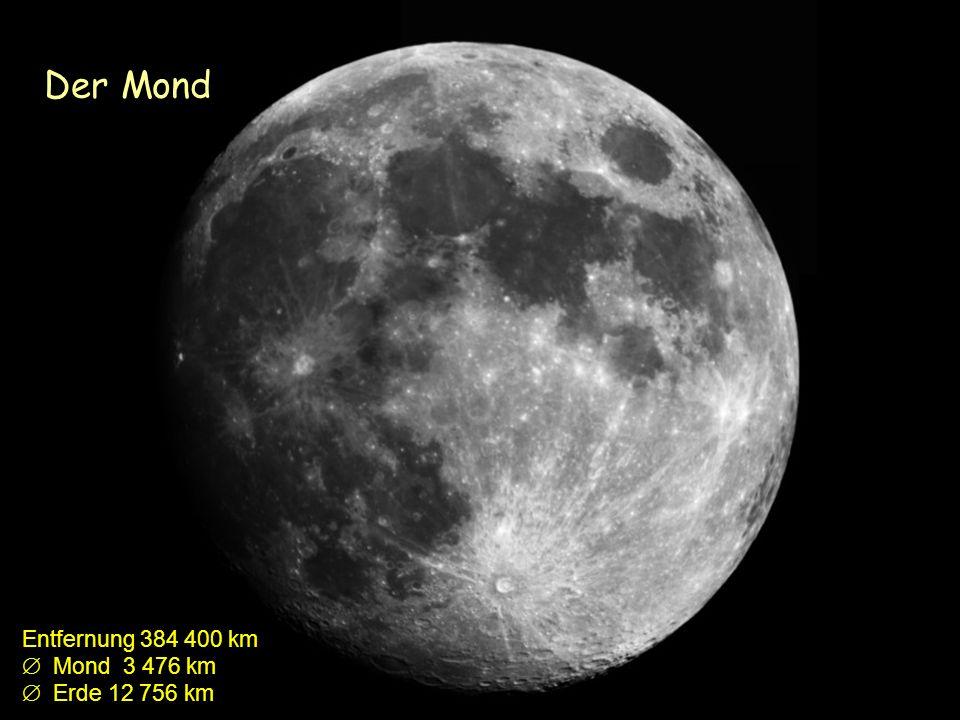 Der Mond Entfernung 384 400 km Mond 3 476 km Erde 12 756 km