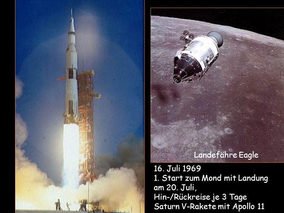 16. Juli 1969 1. Start zum Mond mit Landung am 20. Juli, Hin-/Rückreise je 3 Tage Saturn V-Rakete mit Apollo 11 Landefähre Eagle