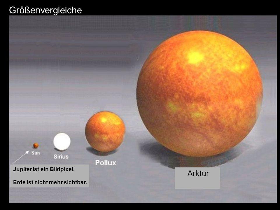 Größenvergleiche Arktur Jupiter ist ein Bildpixel. Erde ist nicht mehr sichtbar.
