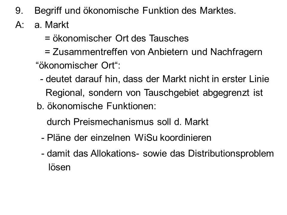 9.Begriff und ökonomische Funktion des Marktes. A:a. Markt = ökonomischer Ort des Tausches = Zusammentreffen von Anbietern und Nachfragern ökonomische