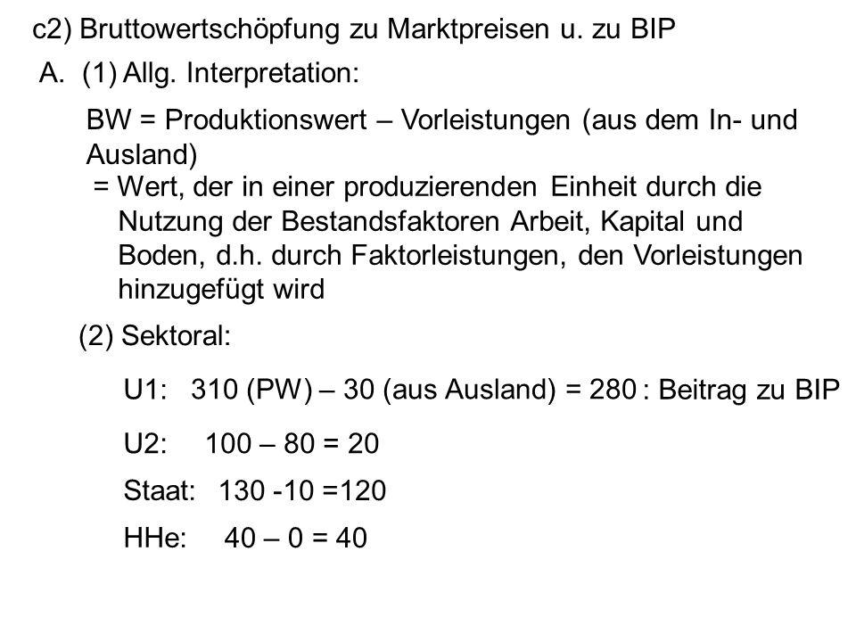 c2) Bruttowertschöpfung zu Marktpreisen u. zu BIP A. (1) Allg. Interpretation: = Wert, der in einer produzierenden Einheit durch die Nutzung der Besta